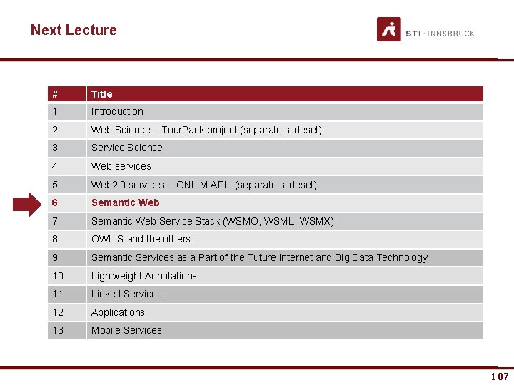 Next Lecture # Title 1 Introduction 2 Web Science + Tour. Pack project (separate