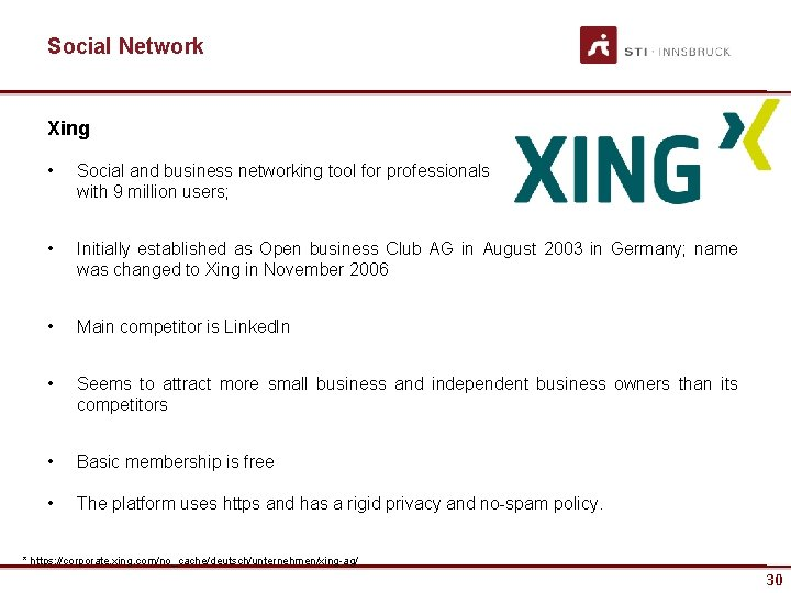 Social Network Xing • Social and business networking tool for professionals with 9 million
