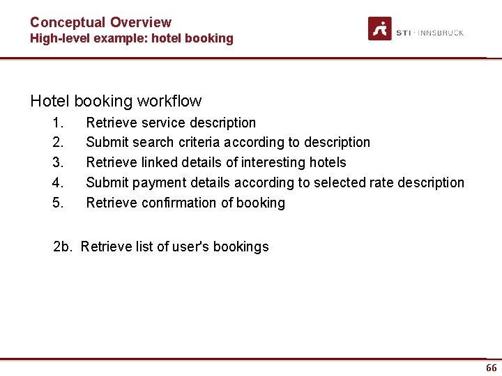 Conceptual Overview High-level example: hotel booking Hotel booking workflow 1. 2. 3. 4. 5.
