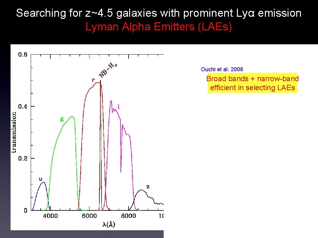 Searching for z~4. 5 galaxies with prominent Lyα emission Lyman Alpha Emitters (LAEs) Ouchi