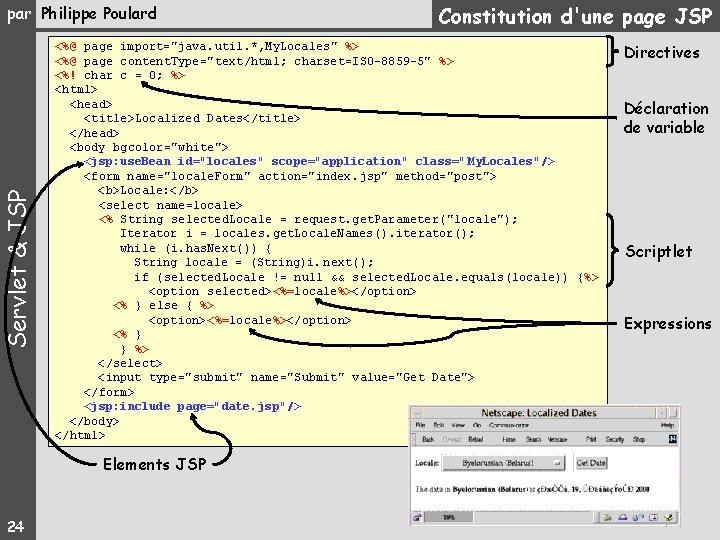 """Servlet & JSP par Philippe Poulard <%@ page import=""""java. util. *, My. Locales"""" %>"""
