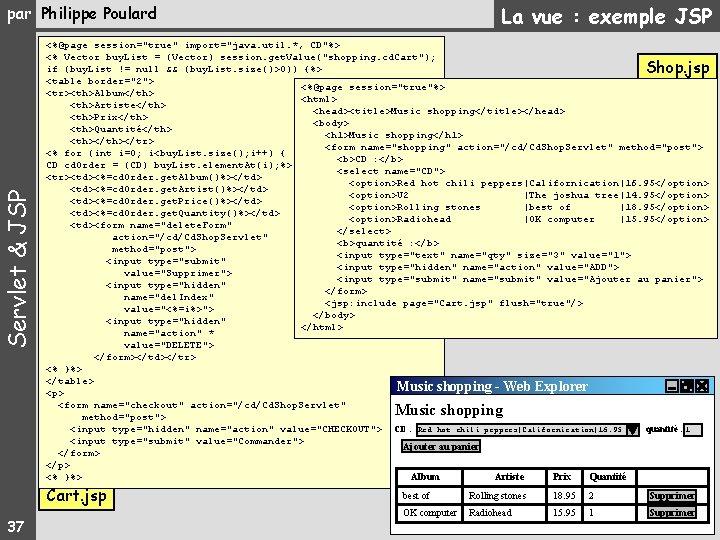 """La vue : exemple JSP par Philippe Poulard <%@page session=""""true"""" import=""""java. util. *, CD""""%>"""