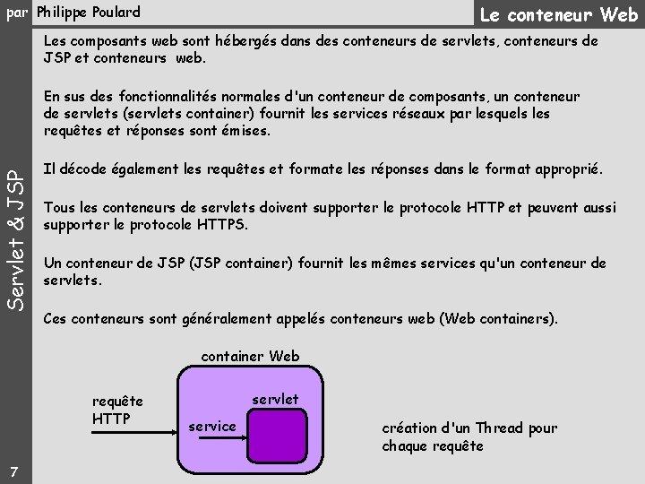 Le conteneur Web par Philippe Poulard Les composants web sont hébergés dans des conteneurs