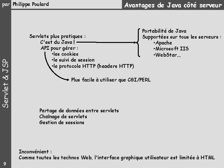 Avantages de Java côté serveur Servlet & JSP par Philippe Poulard Servlets plus pratiques