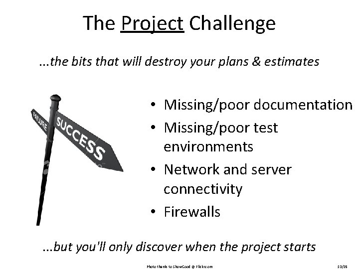 The Project Challenge. . . the bits that will destroy your plans & estimates