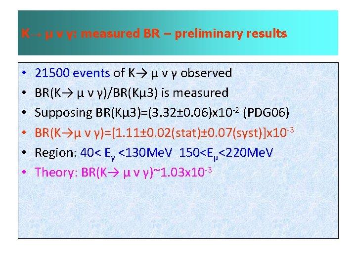 K→ µ ν γ: measured BR – preliminary results • • • 21500 events