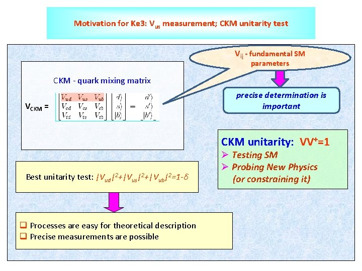 Motivation for Ke 3: Vus measurement; CKM unitarity test Vij - fundamental SM parameters