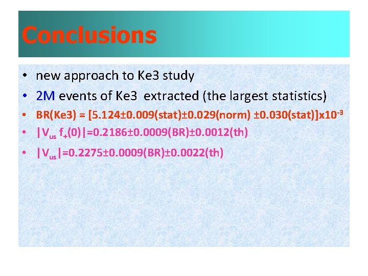 Conclusions • new approach to Ke 3 study • 2 M events of Ke