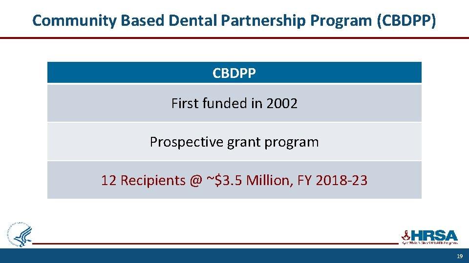Community Based Dental Partnership Program (CBDPP) CBDPP First funded in 2002 Prospective grant program