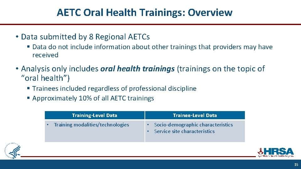 AETC Oral Health Trainings: Overview • Data submitted by 8 Regional AETCs § Data