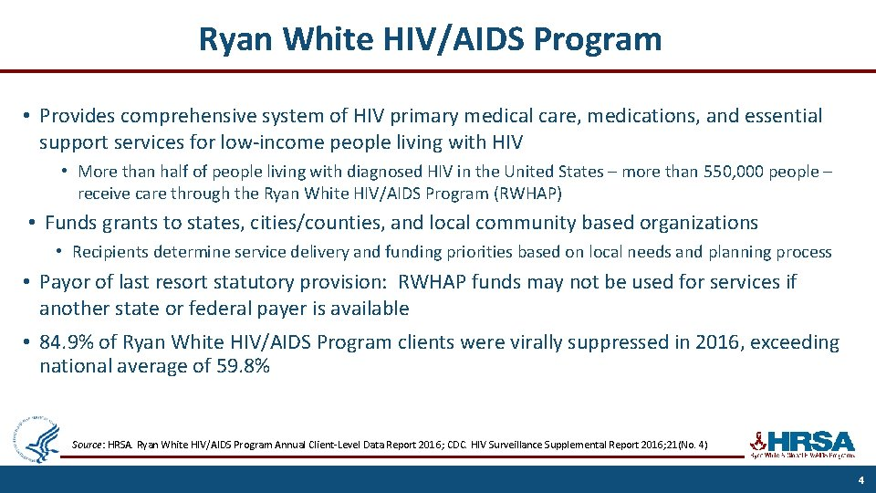 Ryan White HIV/AIDS Program • Provides comprehensive system of HIV primary medical care, medications,