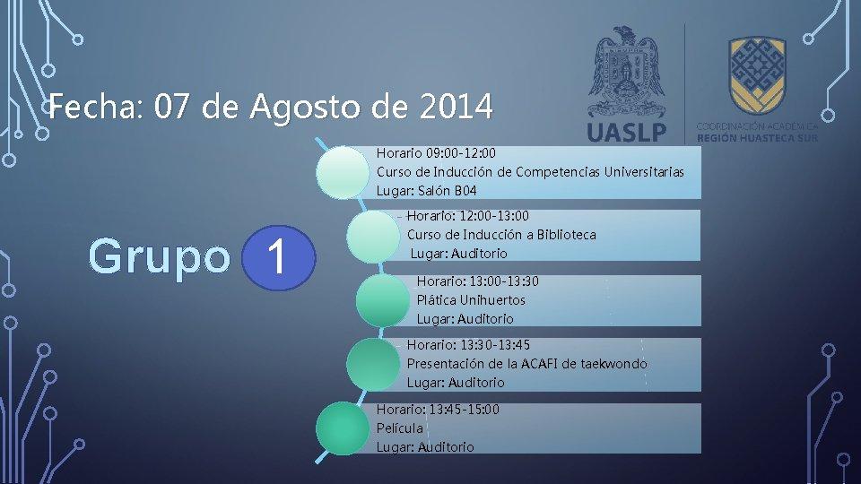 Fecha: 07 de Agosto de 2014 Horario 09: 00 -12: 00 Curso de Inducción