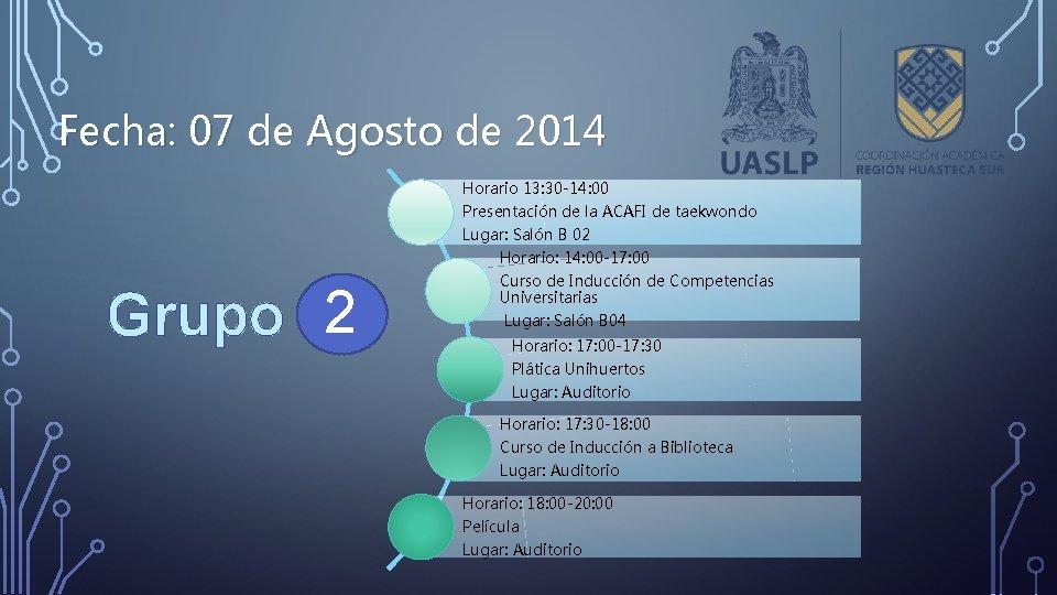 Fecha: 07 de Agosto de 2014 Horario 13: 30 -14: 00 Presentación de la
