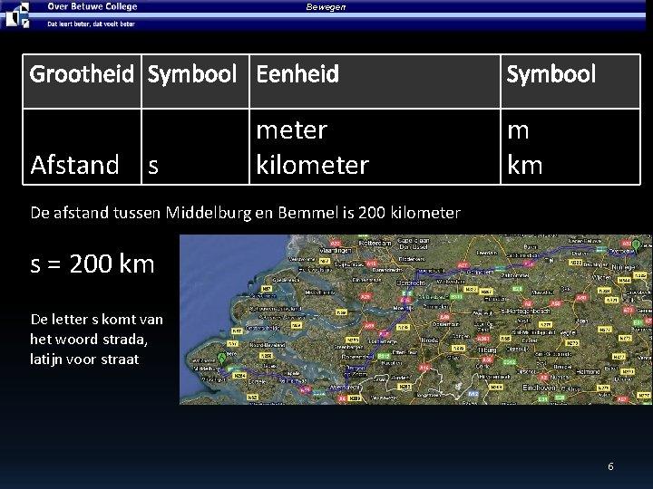 Bewegen Grootheid Symbool Eenheid Afstand s meter kilometer Symbool m km De afstand tussen
