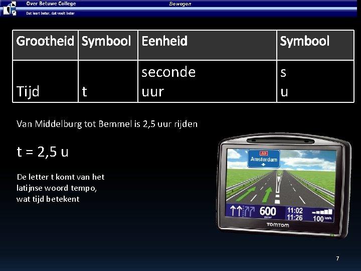 Bewegen Grootheid Symbool Eenheid Tijd t seconde uur Symbool s u Van Middelburg tot