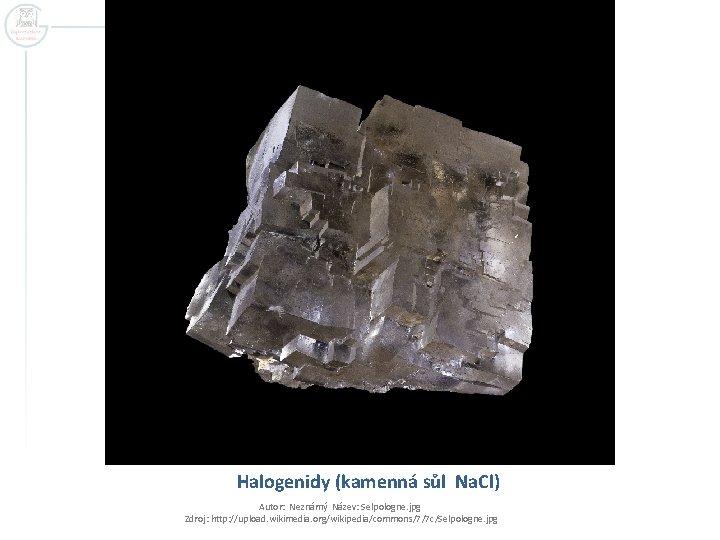 Halogenidy (kamenná sůl Na. Cl) Autor: Neznámý Název: Selpologne. jpg Zdroj: http: //upload. wikimedia.