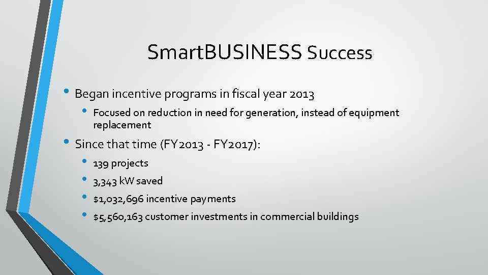 Smart. BUSINESS Success • Began incentive programs in fiscal year 2013 • Focused on