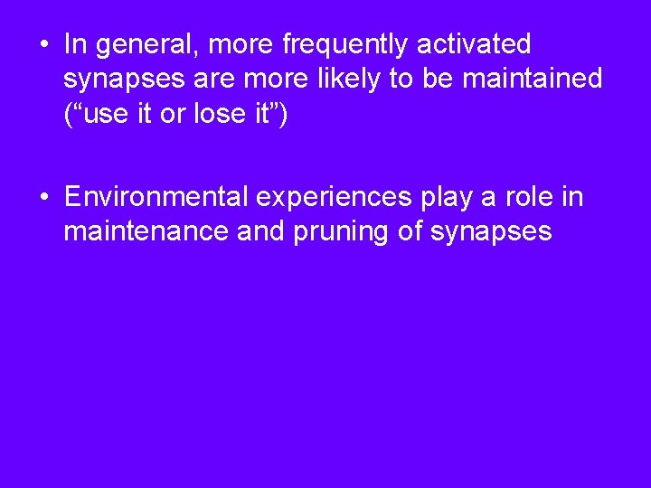 • In general, more frequently activated synapses are more likely to be maintained