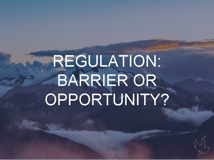 Gaps REGULATION: BARRIER OR OPPORTUNITY?