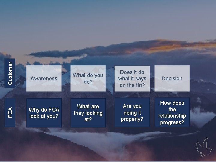 FCA Customer Gaps Awareness What do you do? Does it do what it says