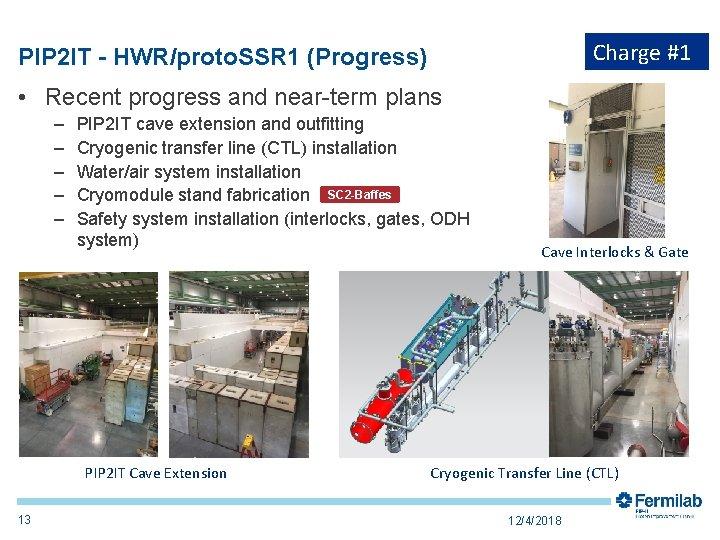 Charge #1 PIP 2 IT - HWR/proto. SSR 1 (Progress) • Recent progress and