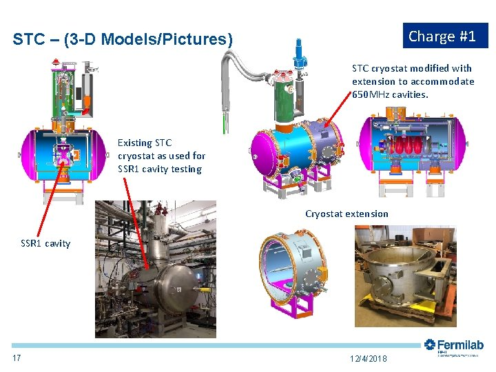 Charge #1 STC – (3 -D Models/Pictures) STC cryostat modified with extension to accommodate