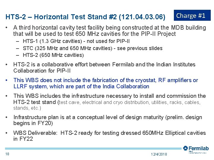HTS-2 – Horizontal Test Stand #2 (121. 04. 03. 06) Charge #1 • A
