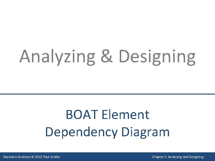 Analyzing & Designing BOAT Element Dependency Diagram Beyond e-Business © 2015 Paul Grefen Chapter