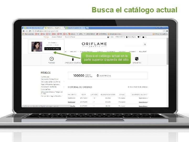 Busca el catálogo actual en la parte superior izquierda del sitio.