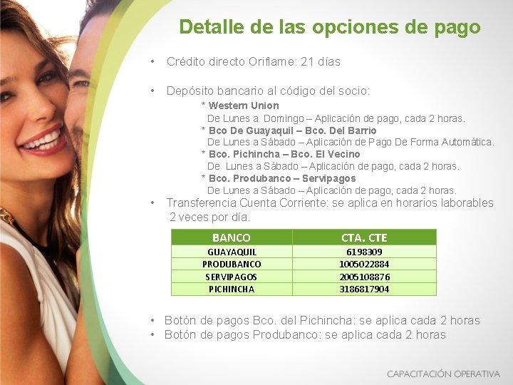Detalle de las opciones de pago • Crédito directo Oriflame: 21 días • Depósito