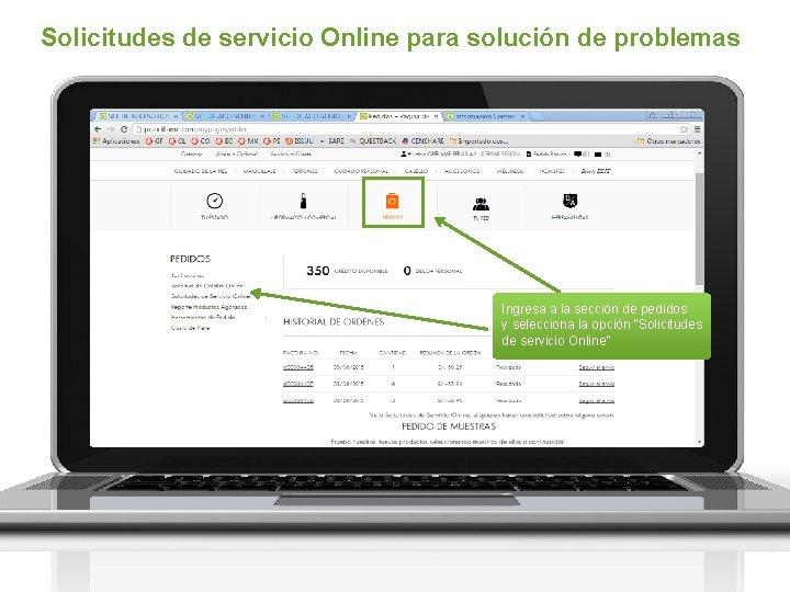 Solicitudes de servicio Online para solución de problemas Ingresa a la sección de pedidos