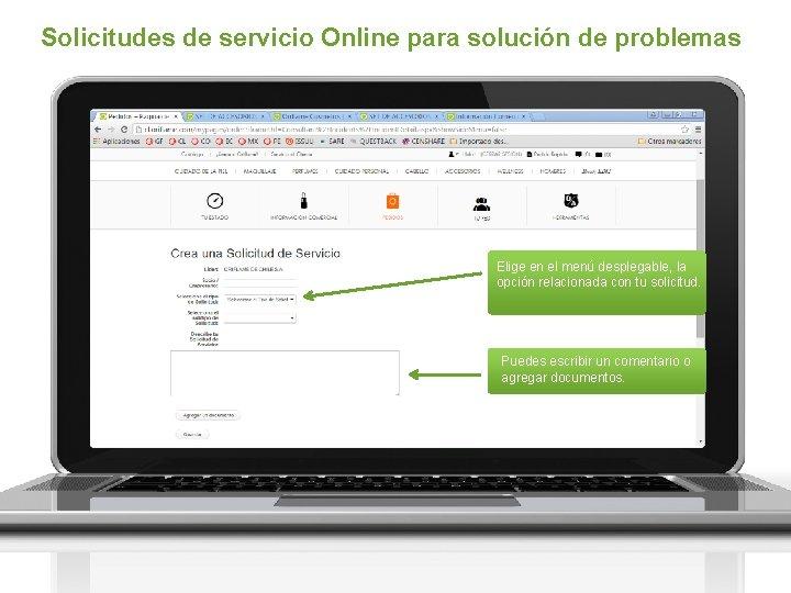 Solicitudes de servicio Online para solución de problemas Elige en el menú desplegable, la