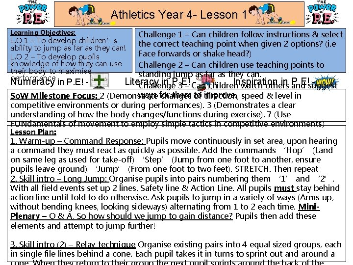 Athletics Year 4 - Lesson 1 Learning Objectives: Challenge 1 – Can children follow