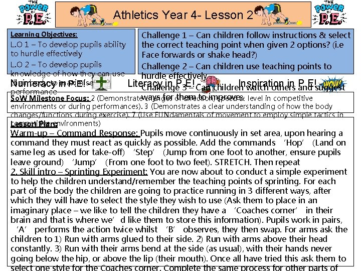 Athletics Year 4 - Lesson 2 Challenge 1 – Can children follow instructions &