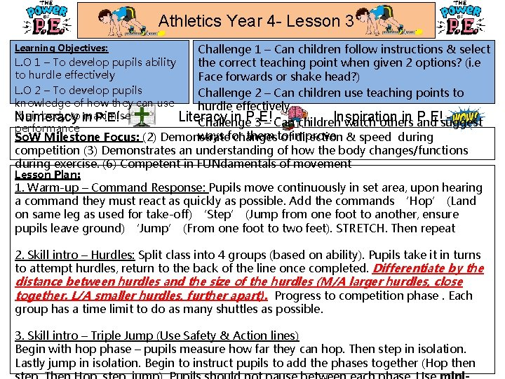 Athletics Year 4 - Lesson 3 Challenge 1 – Can children follow instructions &