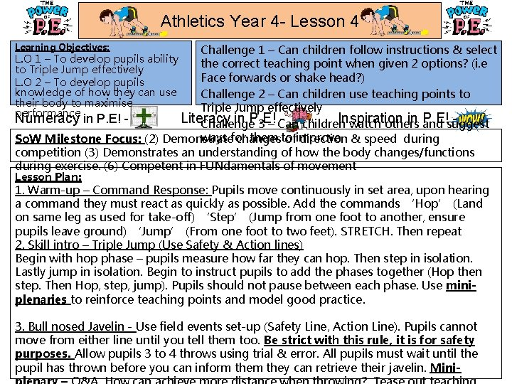 Athletics Year 4 - Lesson 4 Learning Objectives: Challenge 1 – Can children follow