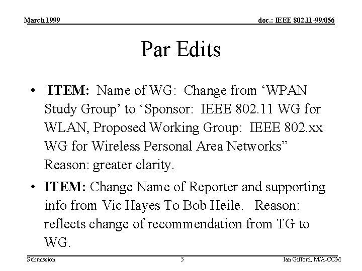 March 1999 doc. : IEEE 802. 11 -99/056 Par Edits • ITEM: Name of