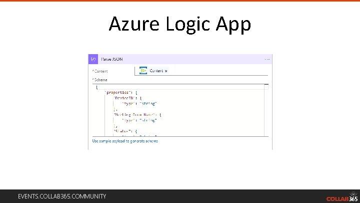 Azure Logic App EVENTS. COLLAB 365. COMMUNITY