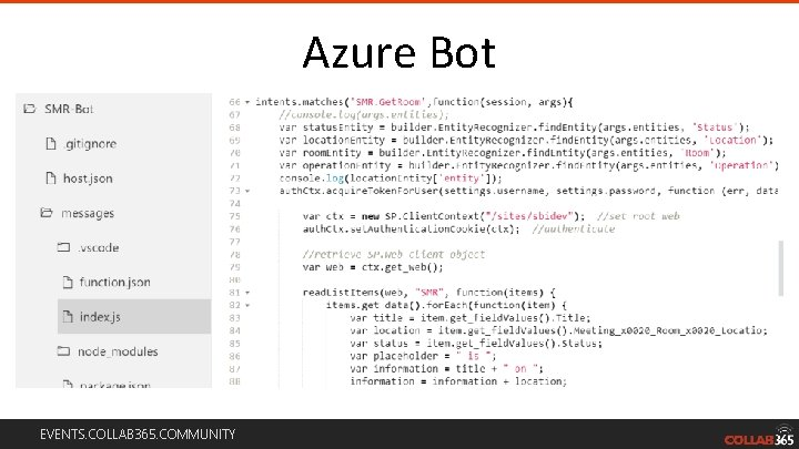 Azure Bot EVENTS. COLLAB 365. COMMUNITY