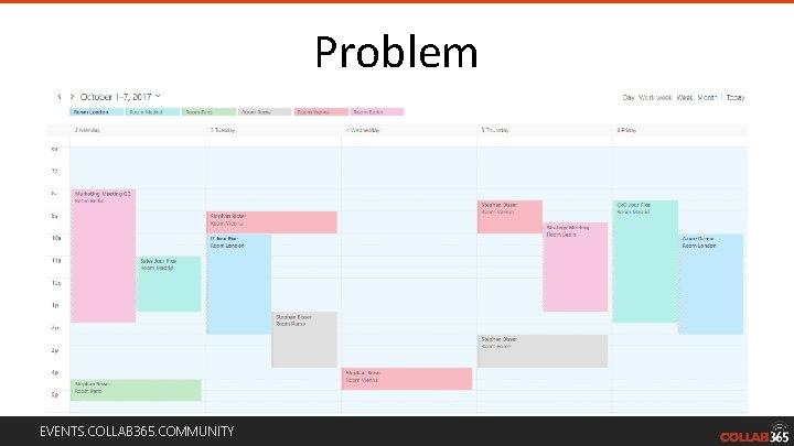 Problem EVENTS. COLLAB 365. COMMUNITY