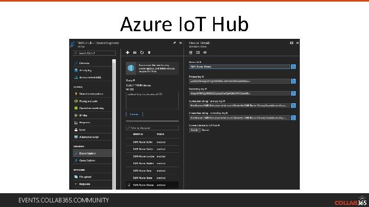 Azure Io. T Hub EVENTS. COLLAB 365. COMMUNITY