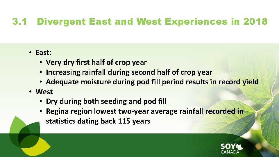 3. 1 Divergent East and West Experiences in 2018 • East: • Very dry