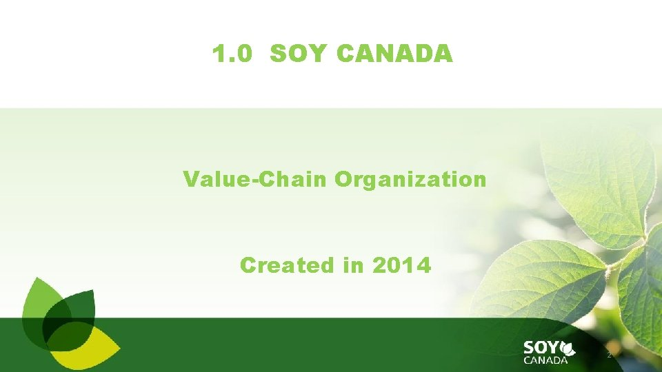 1. 0 SOY CANADA Value-Chain Organization Created in 2014 2