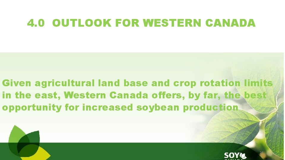 4. 0 OUTLOOK FOR WESTERN CANADA Given agricultural land base and crop rotation limits