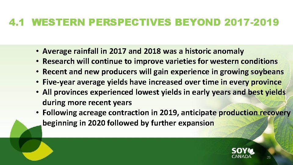4. 1 WESTERN PERSPECTIVES BEYOND 2017 -2019 Average rainfall in 2017 and 2018 was