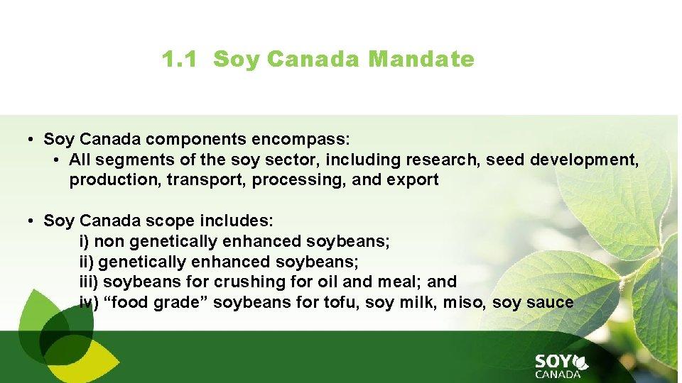 1. 1 Soy Canada Mandate • Soy Canada components encompass: • All segments of