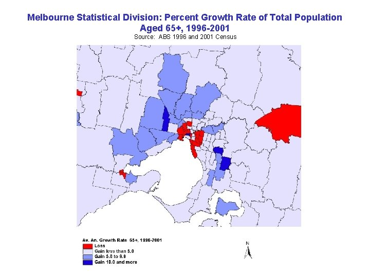 Melbourne Statistical Division: Percent Growth Rate of Total Population Aged 65+, 1996 -2001 Source: