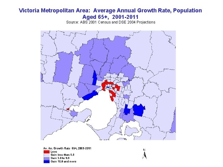 Victoria Metropolitan Area: Average Annual Growth Rate, Population Aged 65+, 2001 -2011 Source: ABS