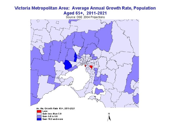 Victoria Metropolitan Area: Average Annual Growth Rate, Population Aged 65+, 2011 -2021 Source: DSE