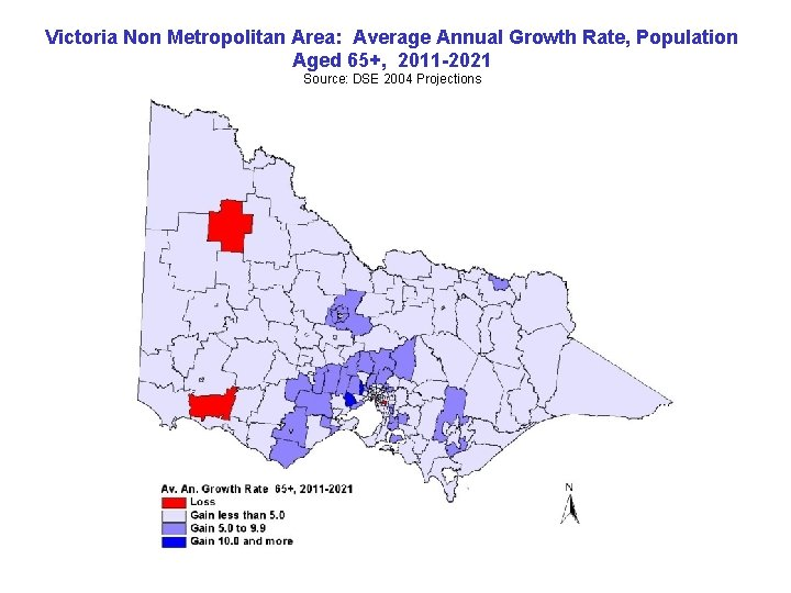 Victoria Non Metropolitan Area: Average Annual Growth Rate, Population Aged 65+, 2011 -2021 Source: